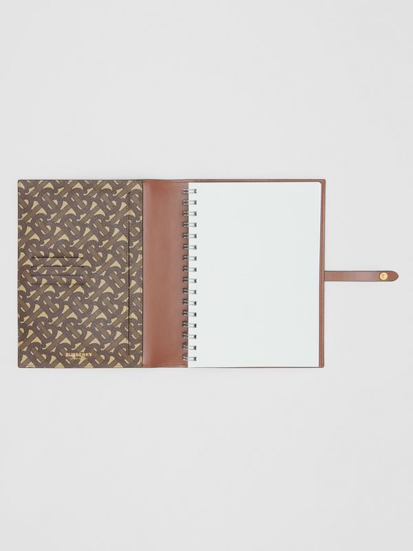 Monogram Print E-canvas Notebook Cover in Bridle Brown | Burberry - cell image 2