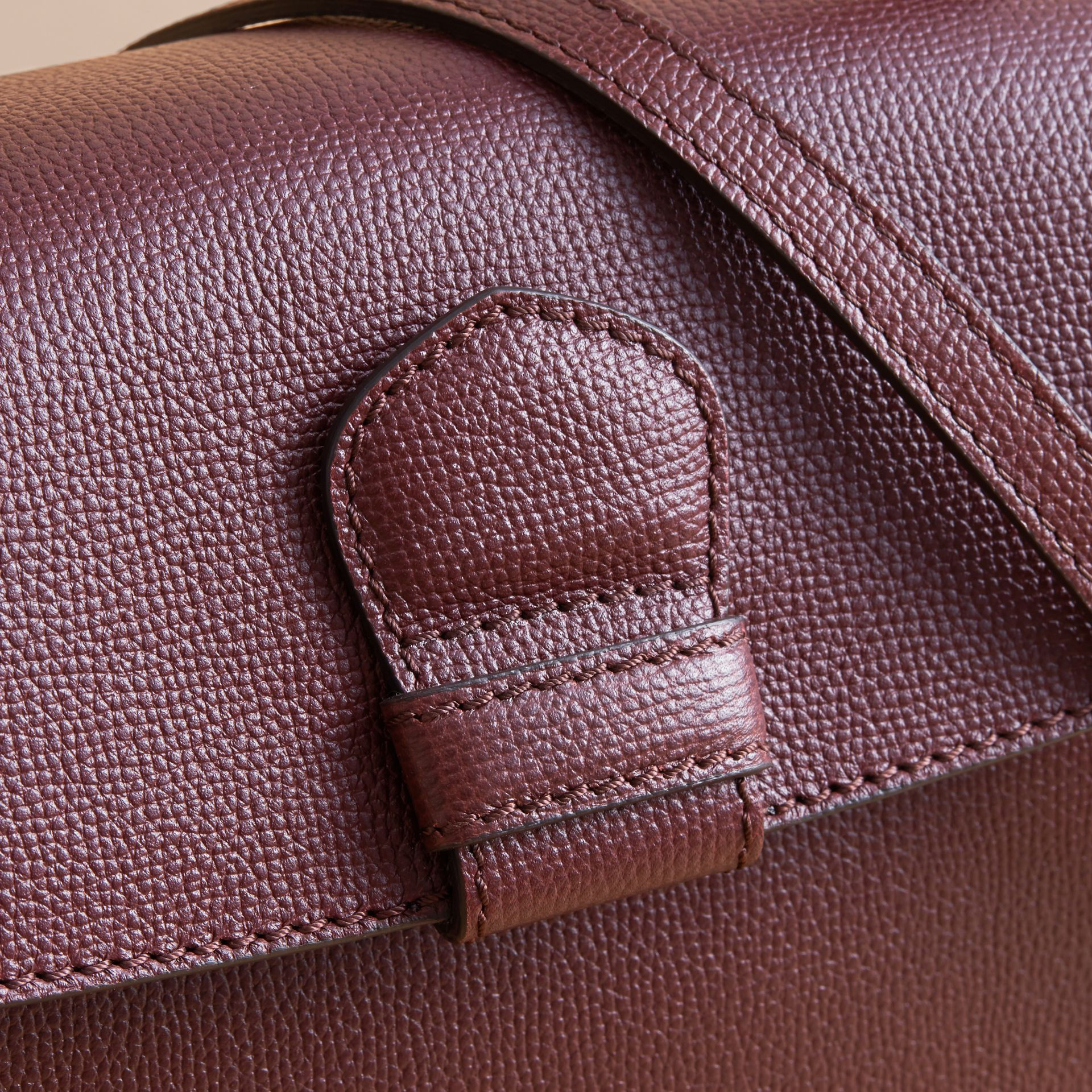 Small Grainy Leather and House Check Tote Bag in Mahogany Red - Women | Burberry - gallery image 2