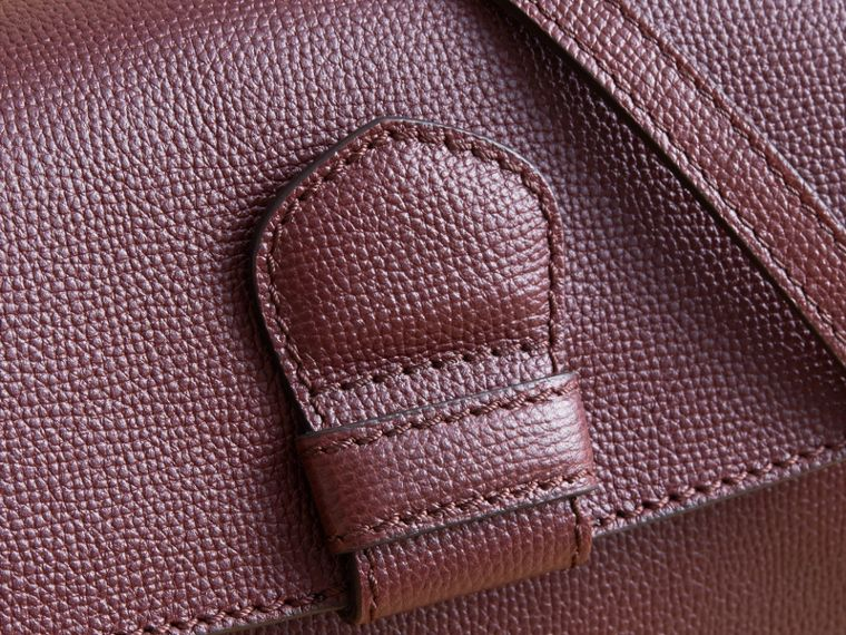 Small Grainy Leather and House Check Tote Bag in Mahogany Red - Women | Burberry - cell image 1