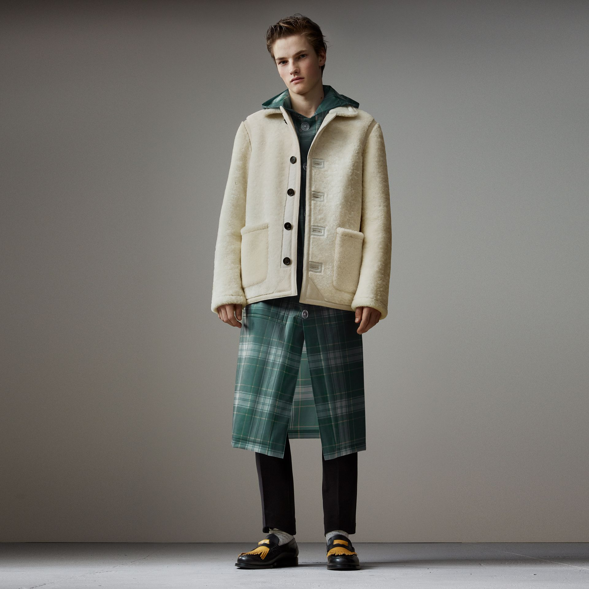 Shearling Jacket in White - Men | Burberry - gallery image 0