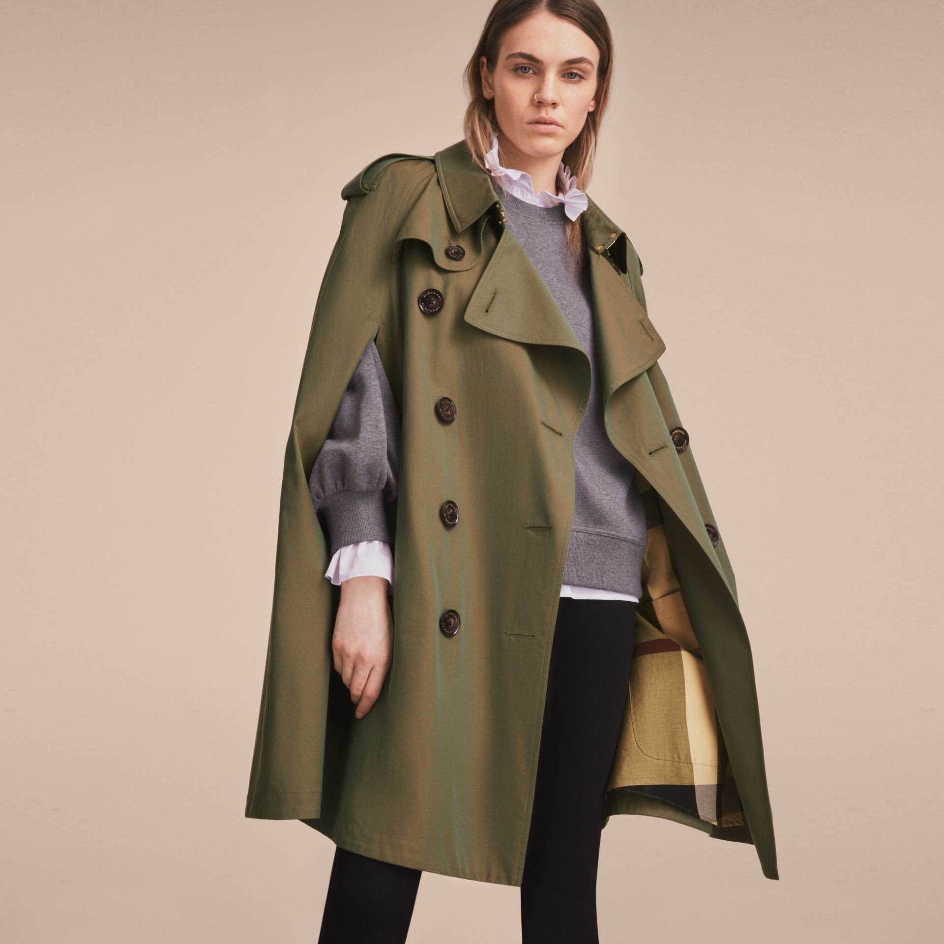 Tropical Gabardine Cape with Check Detail in Bright Olive - Women | Burberry - gallery image 9