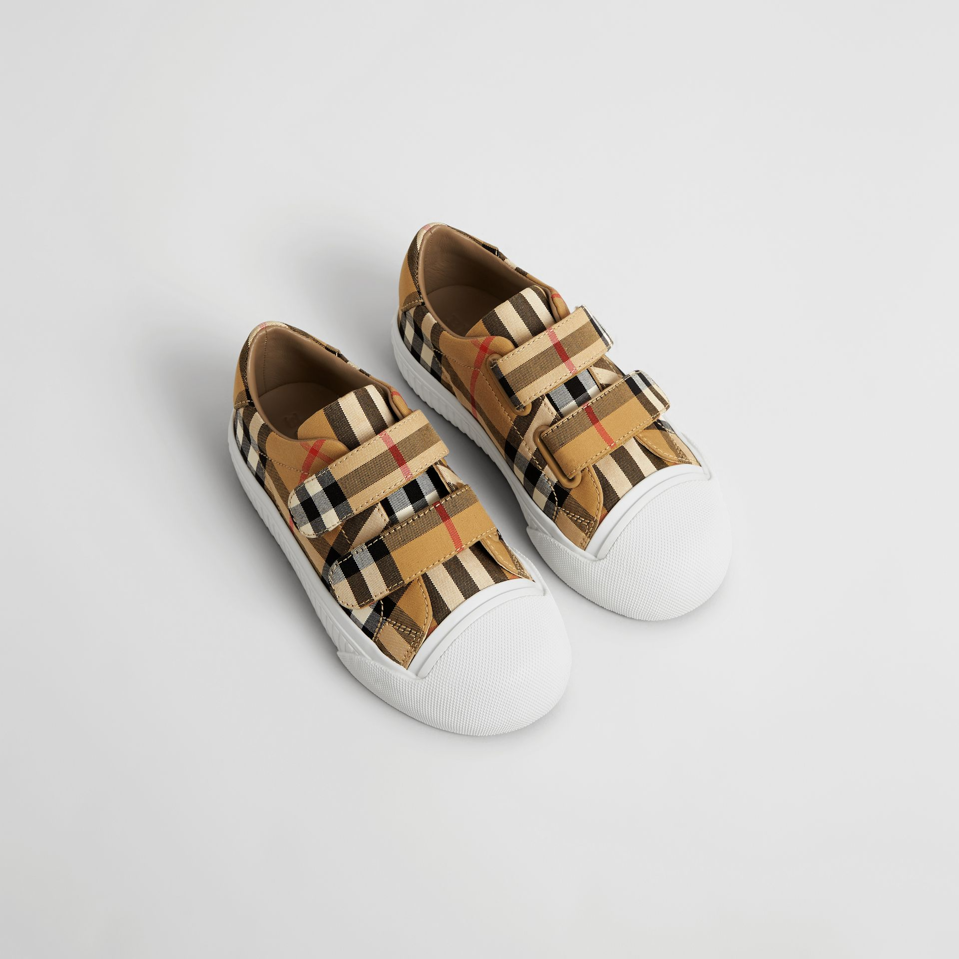 Vintage Check and Leather Sneakers in Antique Yellow/optic White | Burberry United States - gallery image 0