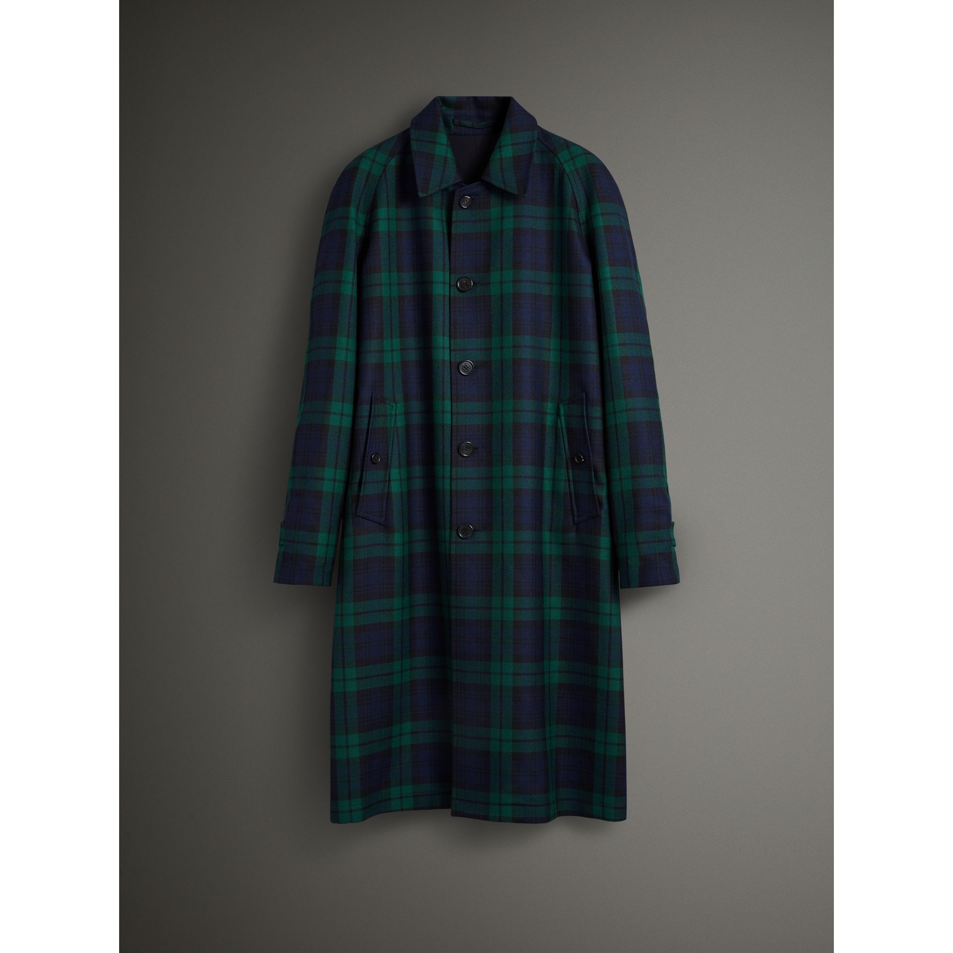 Reversible Tartan Wool and Cotton Gabardine Car Coat in Navy - Men | Burberry - gallery image 4