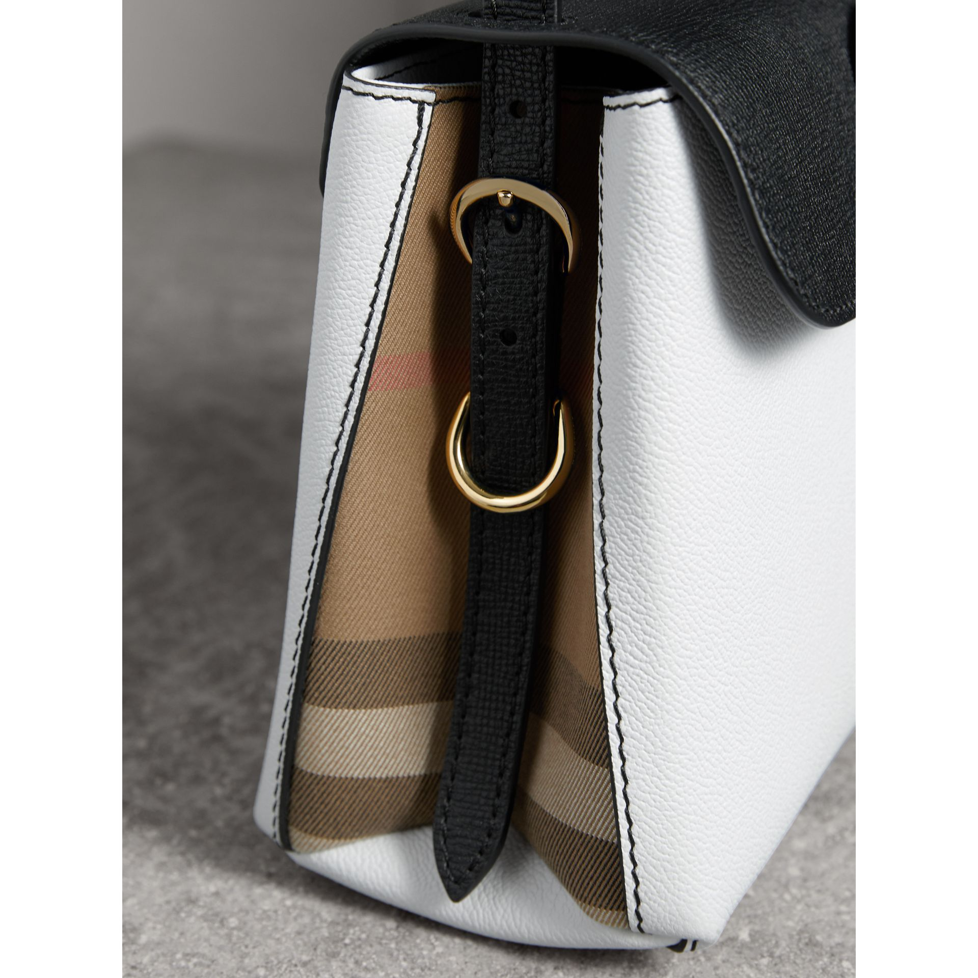 Small Two-tone Leather and House Check Tote in Chalk White/black - Women | Burberry Australia - gallery image 1