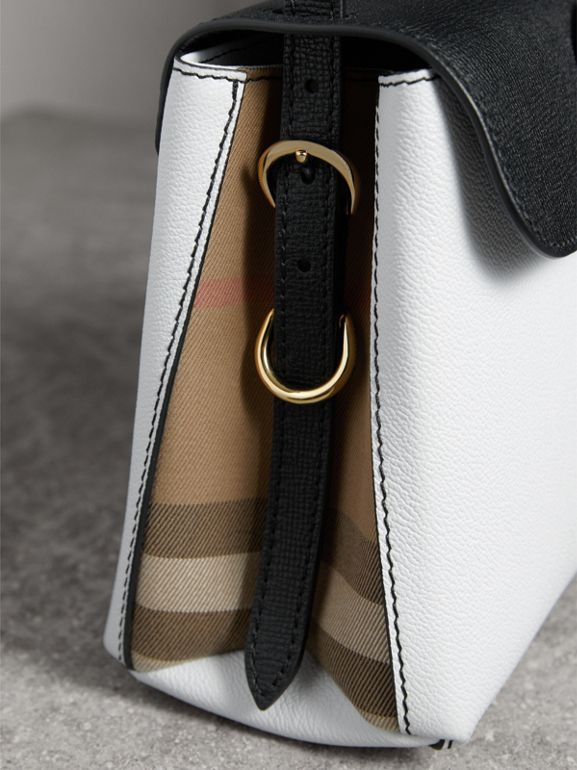 Small Two-tone Leather and House Check Tote in Chalk White/black - Women | Burberry Singapore - cell image 1