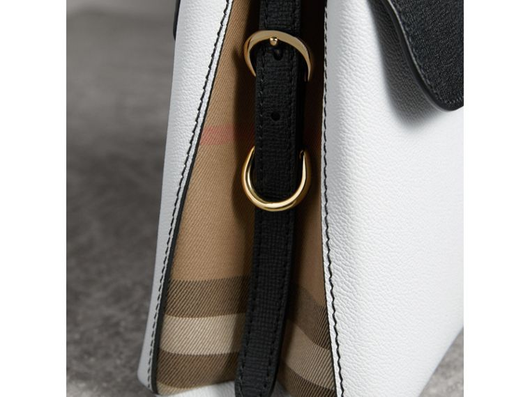 Small Two-tone Leather and House Check Tote in Chalk White/black - Women | Burberry - cell image 1