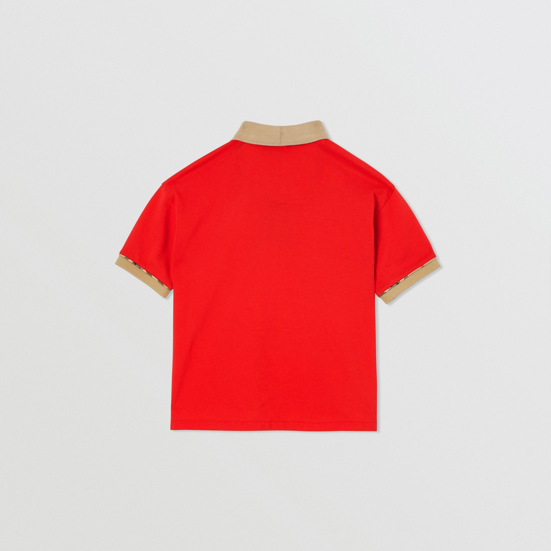 Vintage Check Trim Cotton Polo Shirt in Bright Red | Burberry - gallery image 3