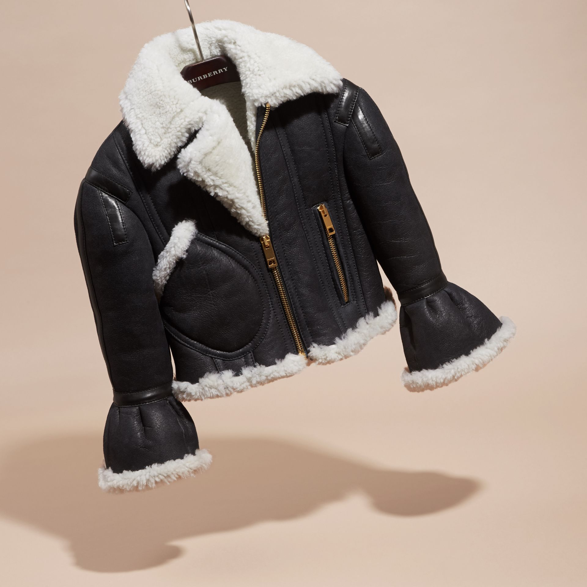 Black Sculptural Shearling Flight Jacket - gallery image 3