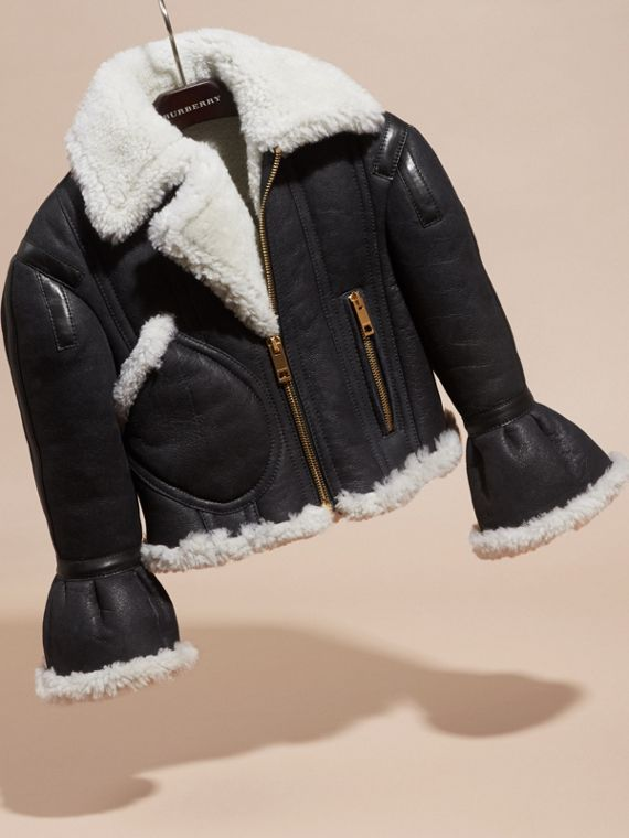 Black Sculptural Shearling Flight Jacket - cell image 2
