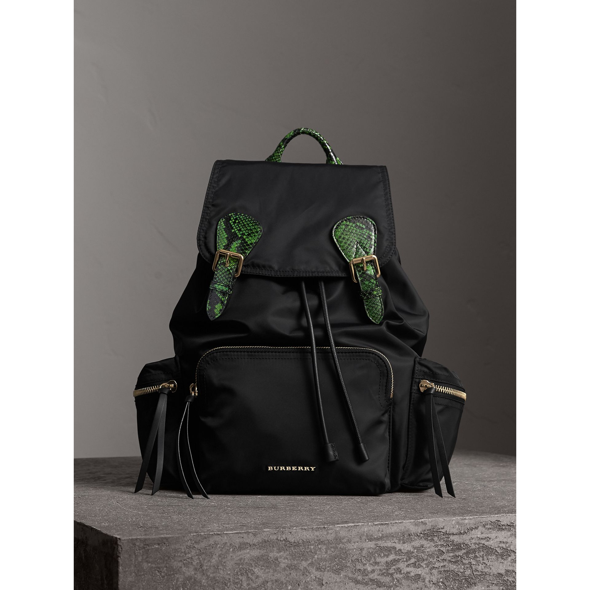 The Large Rucksack in Technical Nylon and Snakeskin in Black/bright Green - Women | Burberry - gallery image 1