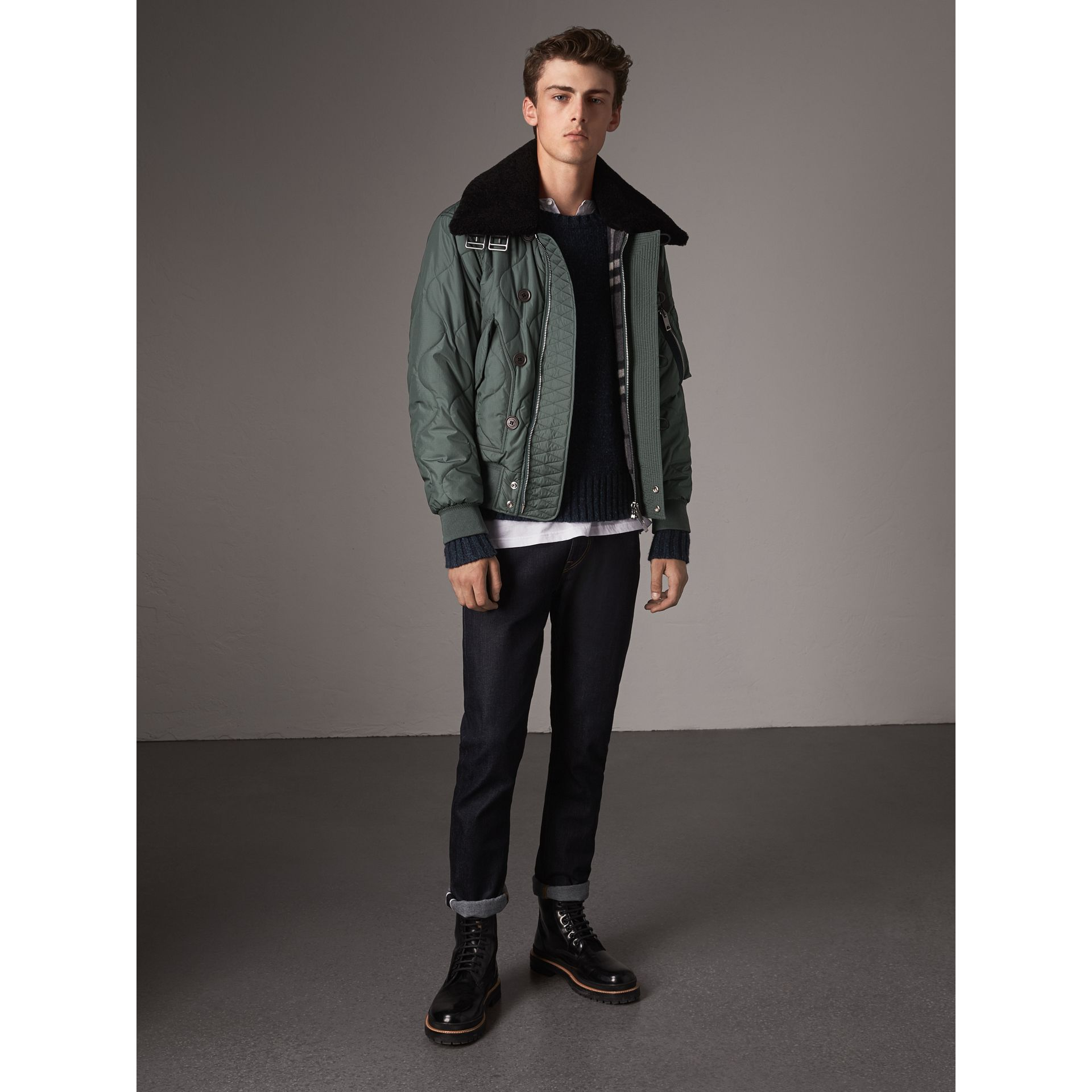 Shearling Collar Quilted Bomber Jacket in Smokey Green - Men | Burberry - gallery image 6