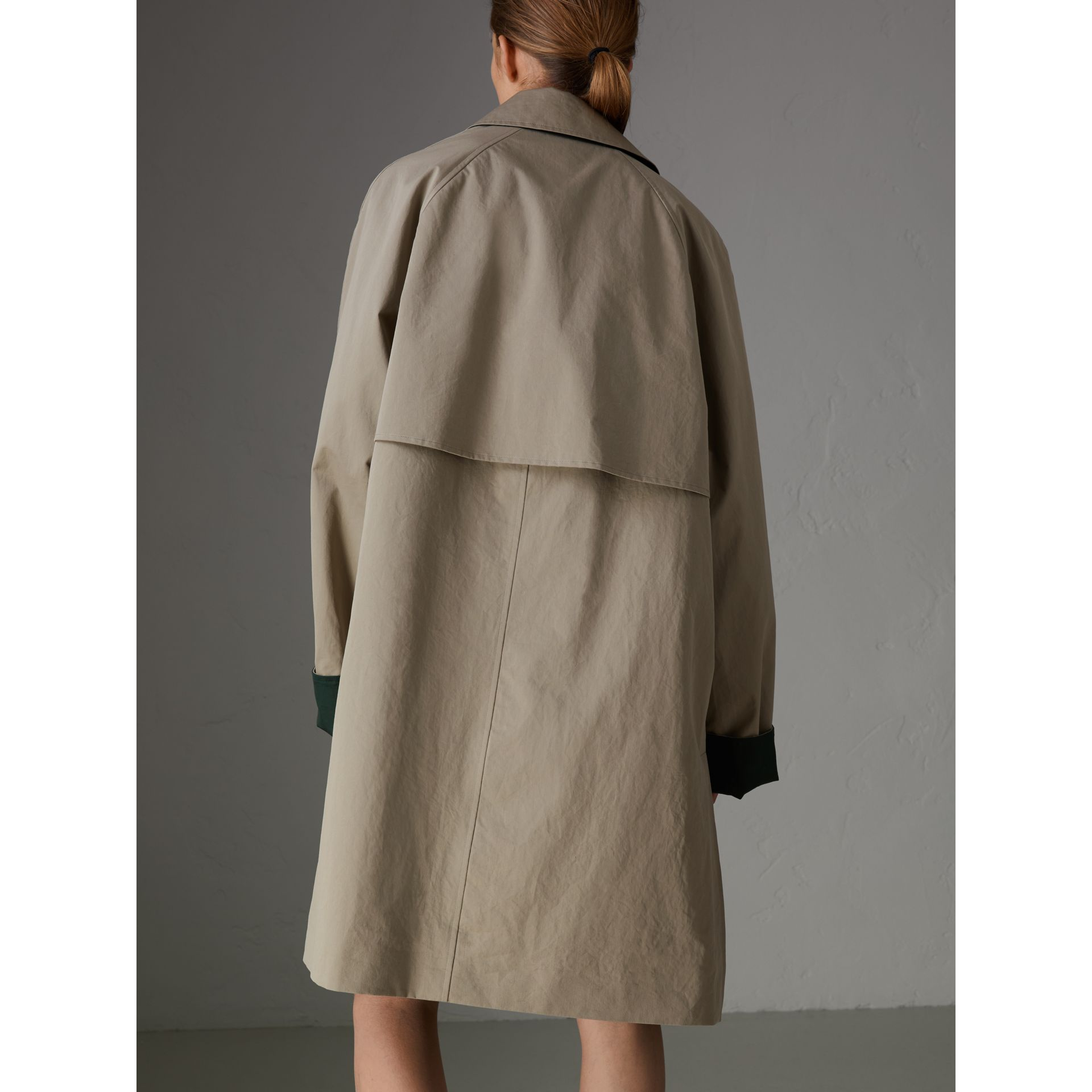 Reissued Waxed Cotton Gabardine Car Coat in Khaki - Women | Burberry Australia - gallery image 2