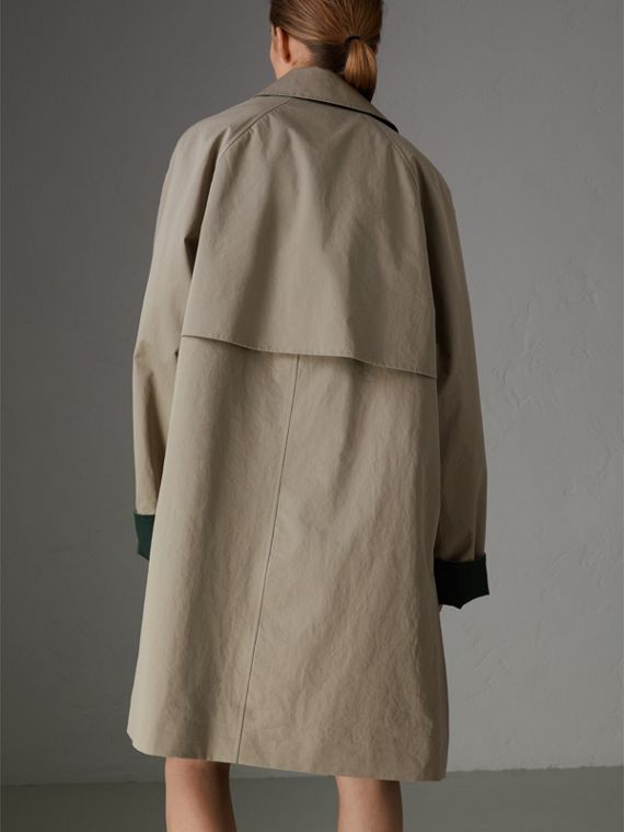 Reissued Waxed Cotton Gabardine Car Coat in Khaki - Women | Burberry Australia - cell image 2