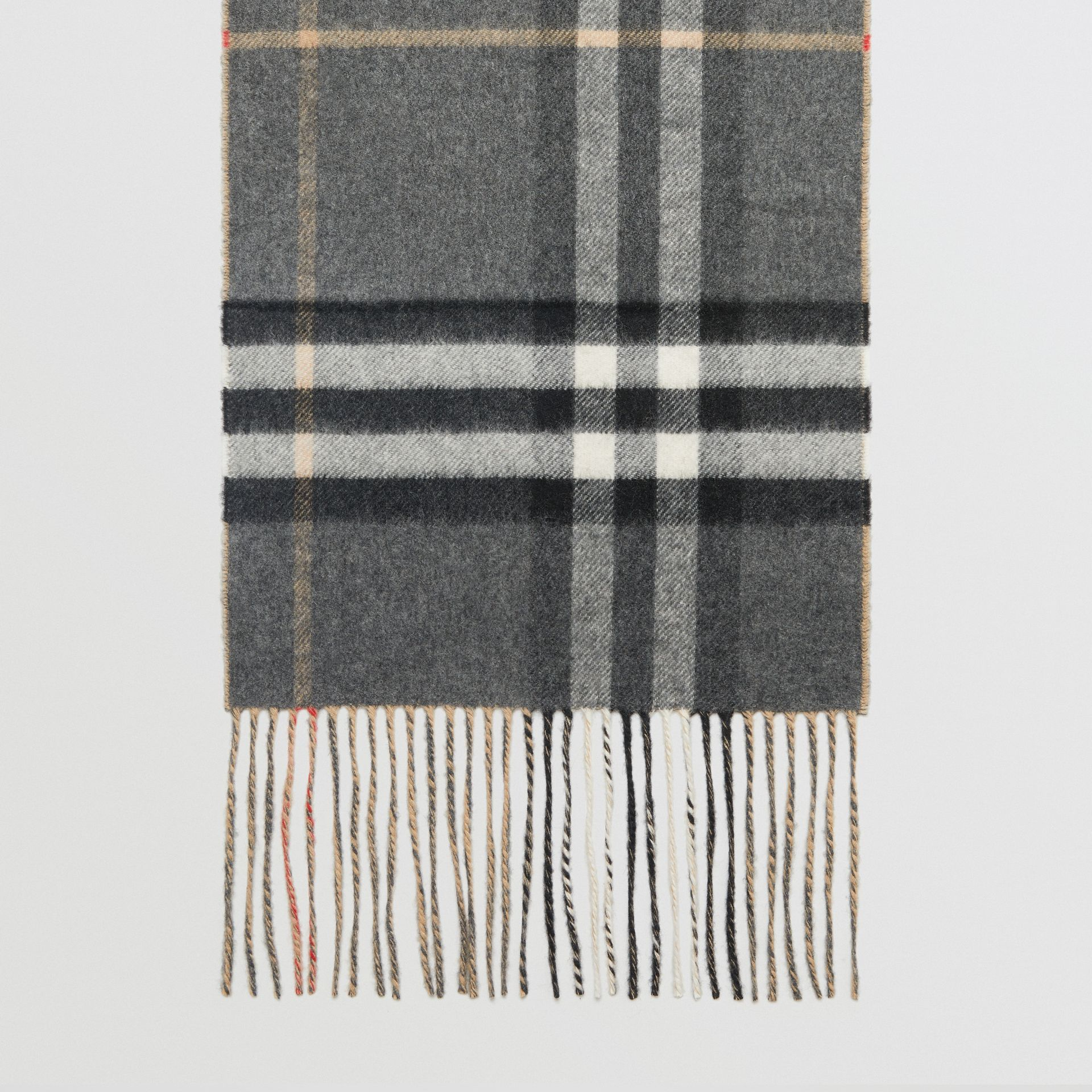 Long Reversible Check Double-faced Cashmere Scarf in Pewter Grey | Burberry - gallery image 4