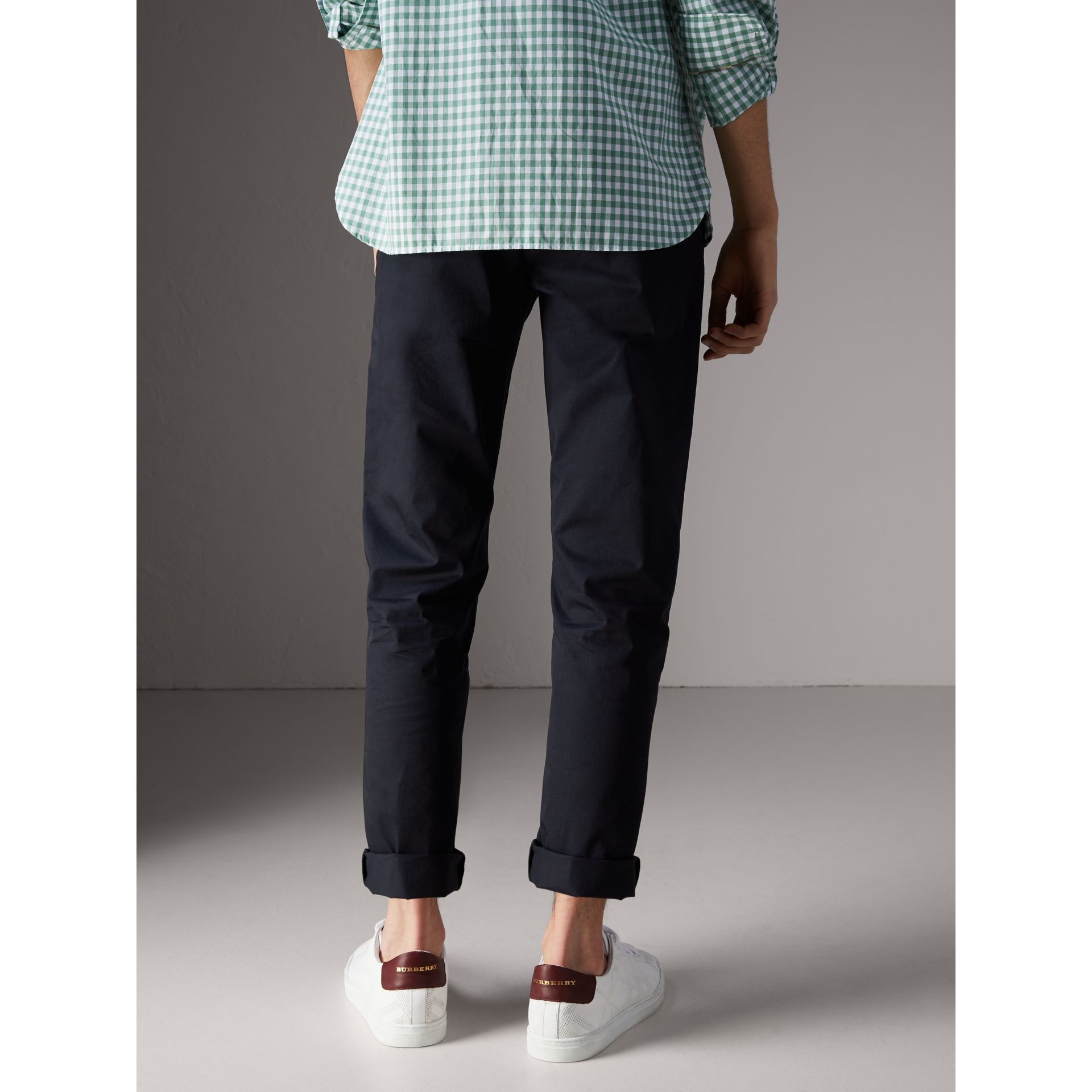 Slim Fit Cotton Chinos in Ink - Men | Burberry - gallery image 2