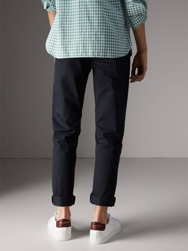 Slim Fit Cotton Chinos in Ink - Men | Burberry Hong Kong - cell image 2
