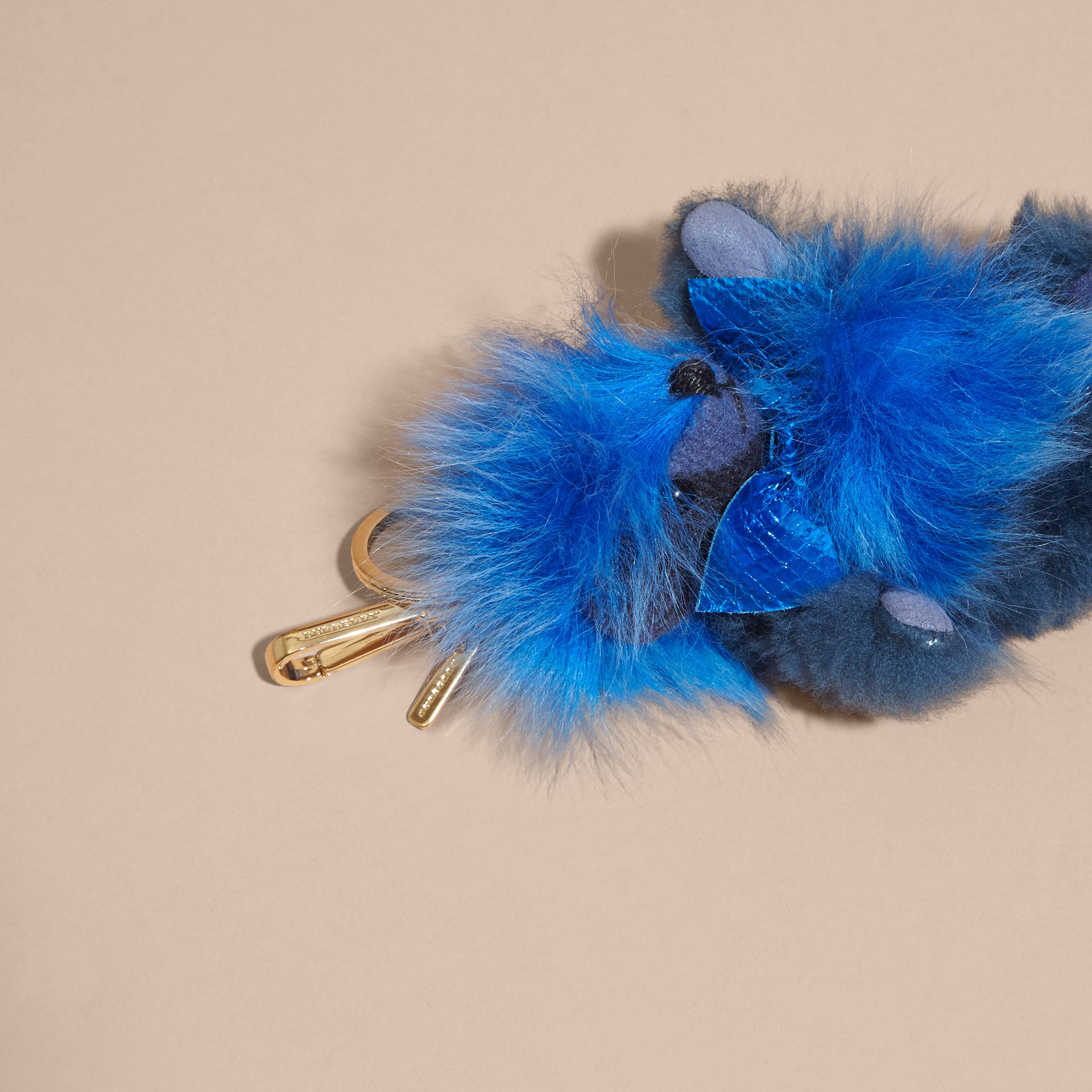Bright cornflower blue Thomas Bear Pom-Pom Charm in Check Cashmere Bright Cornflower Blue - gallery image 4