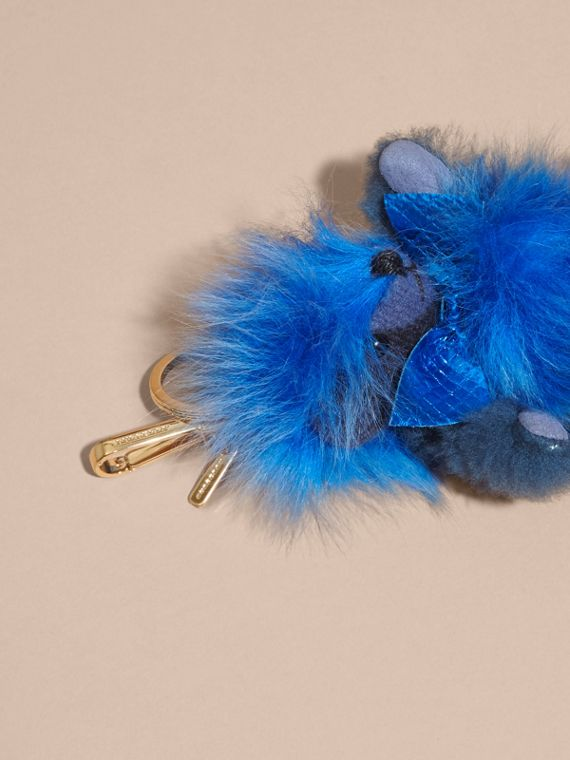 Bright cornflower blue Thomas Bear Pom-Pom Charm in Check Cashmere Bright Cornflower Blue - cell image 3