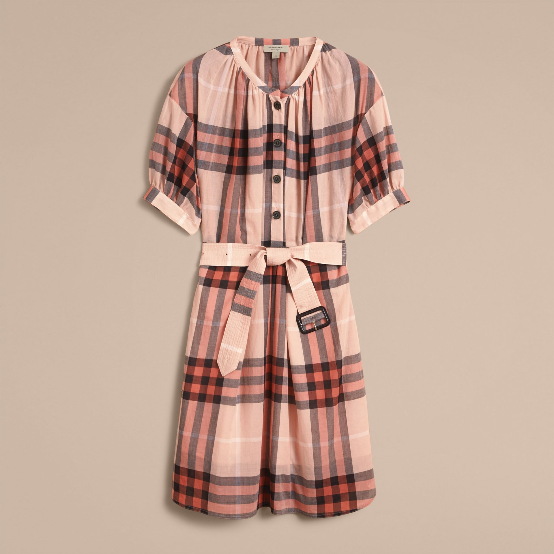 Apricot Short-sleeved Collarless Check Cotton Dress - gallery image 4