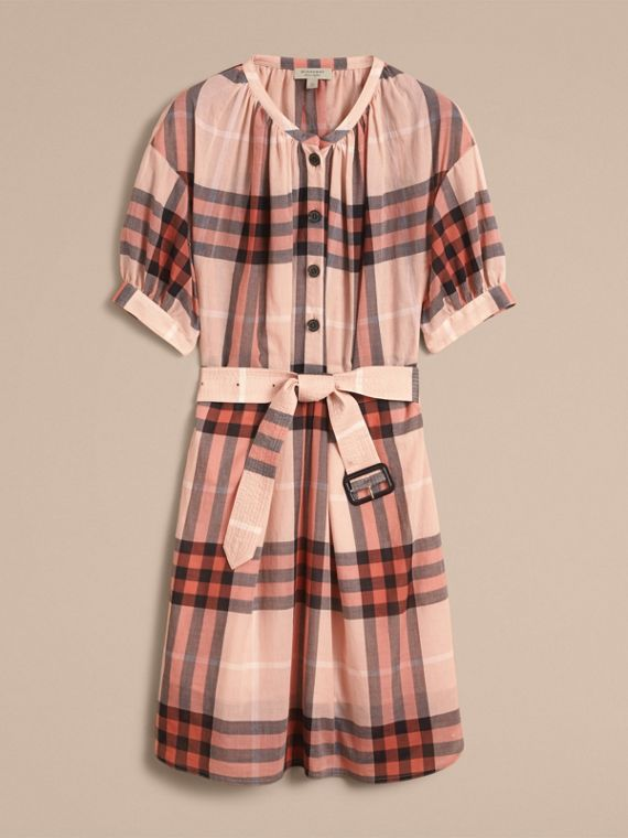Apricot Short-sleeved Collarless Check Cotton Dress - cell image 3