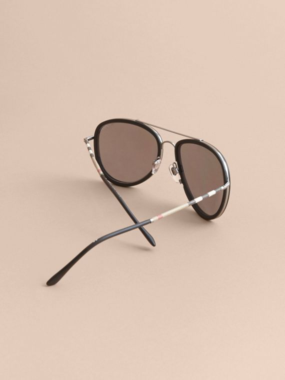Check Detail Pilot Sunglasses - Men | Burberry - cell image 3