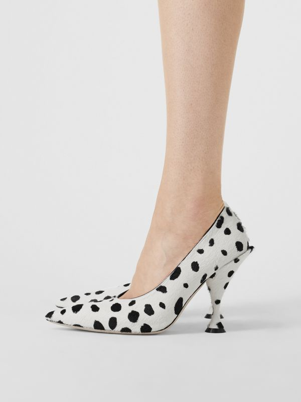 Dalmatian Print Calf Hair Pumps in Optic White/black - Women | Burberry United Kingdom - cell image 2