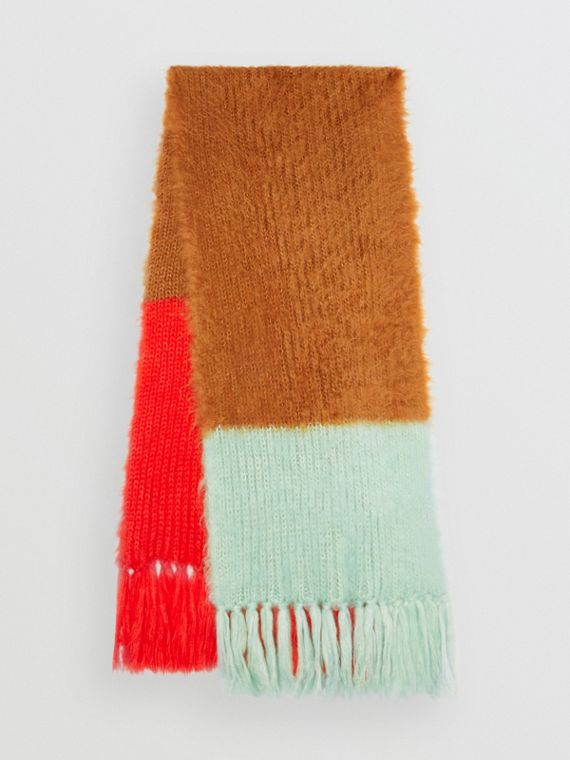 Colour Block Chunky Knit Mohair Silk Scarf in Sand