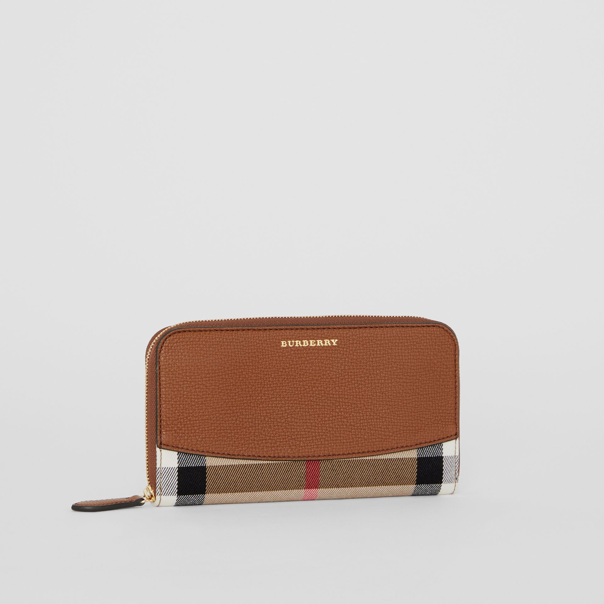 House Check and Leather Ziparound Wallet in Brown Ochre - Women | Burberry - gallery image 3