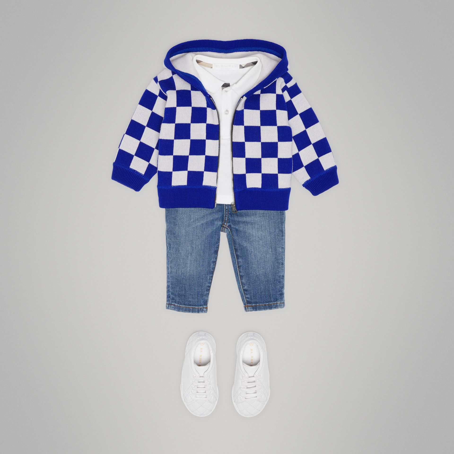 Chequer Merino Wool Hooded Top in Cobalt Blue - Children | Burberry - gallery image 2