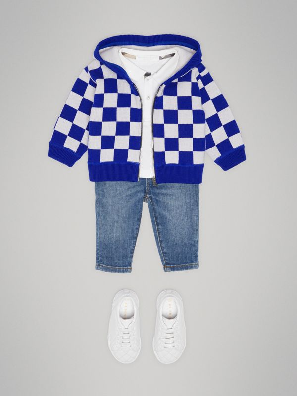 Chequer Merino Wool Hooded Top in Cobalt Blue - Children | Burberry - cell image 2
