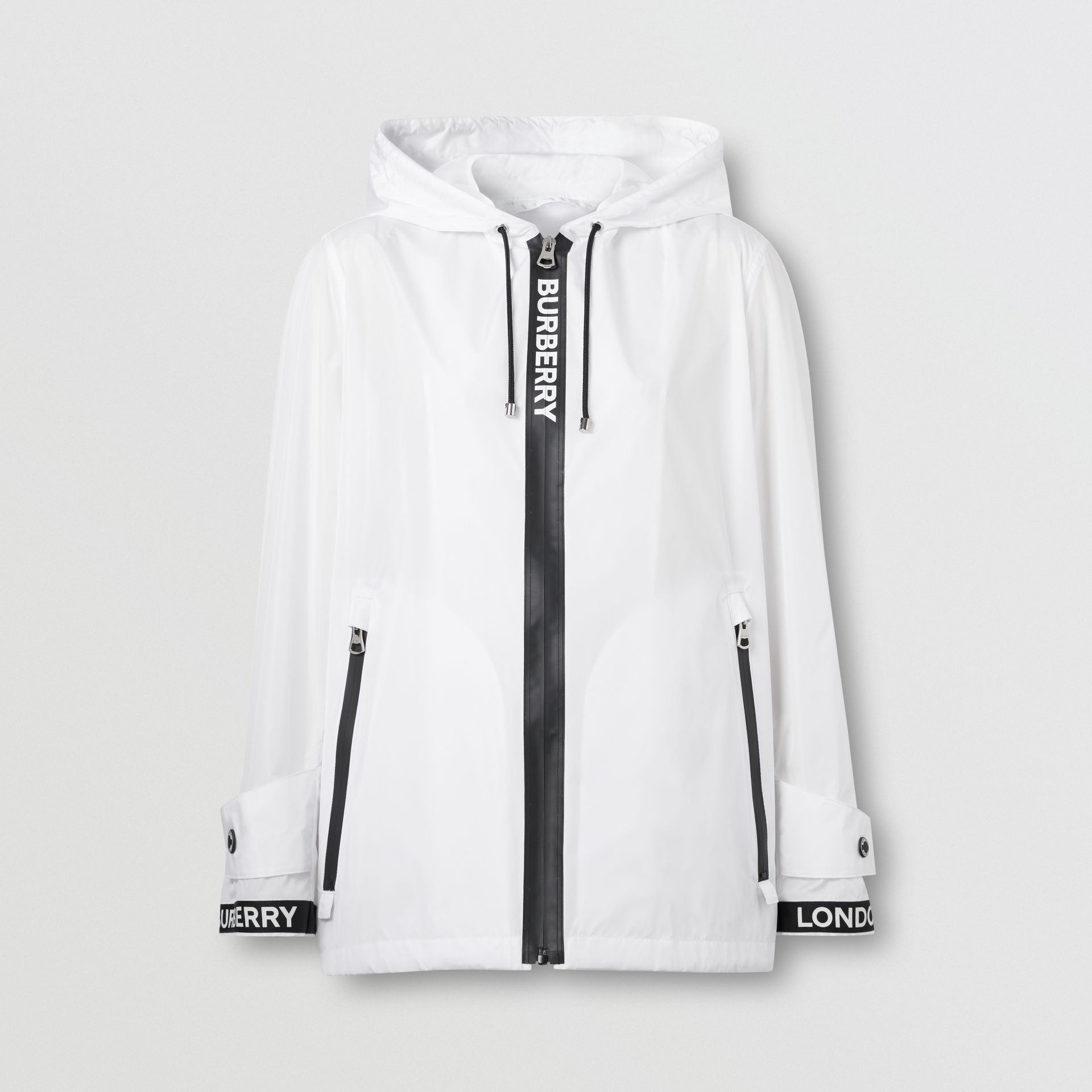 Logo Tape ECONYL® Hooded Jacket in Optic White - Women | Burberry - gallery image 3
