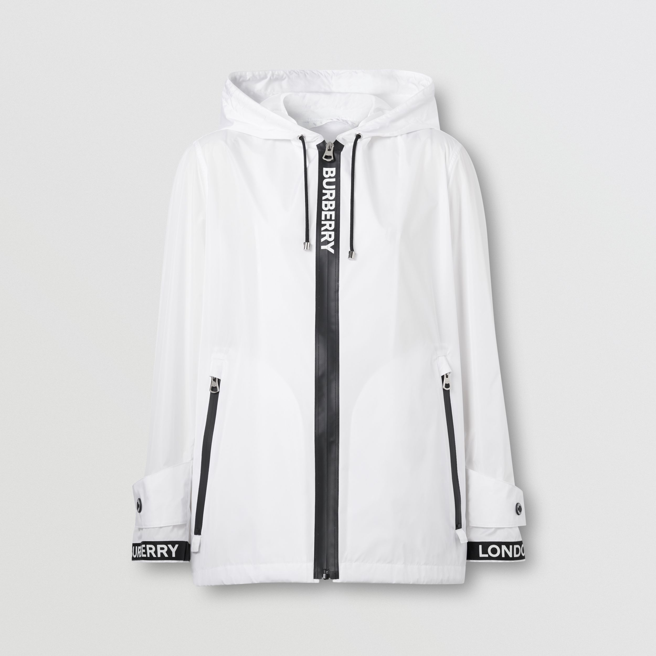 Logo Tape ECONYL® Hooded Jacket in Optic White - Women | Burberry Australia - 4