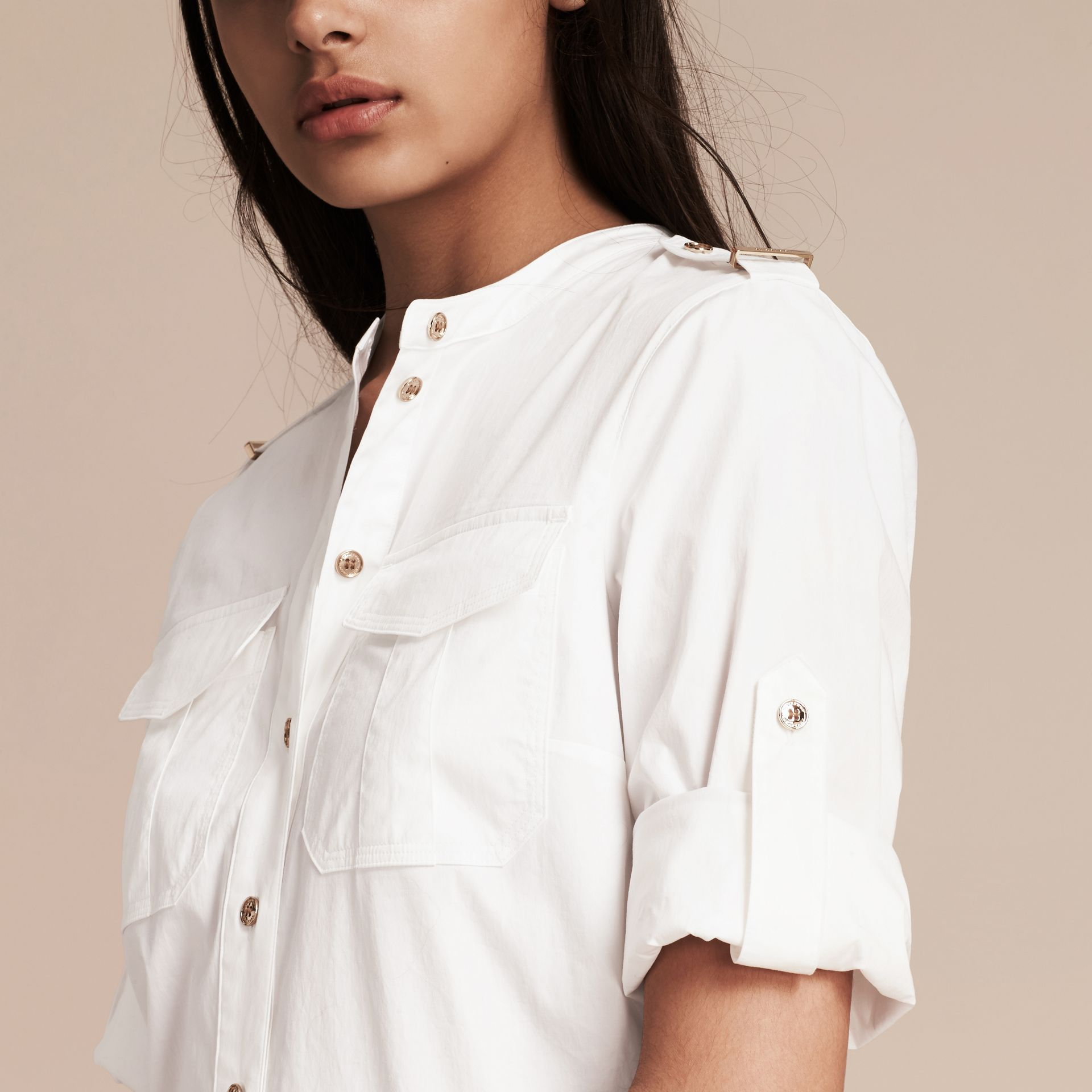 White Military-inspired Cotton Blend Shirt Dress White - gallery image 5