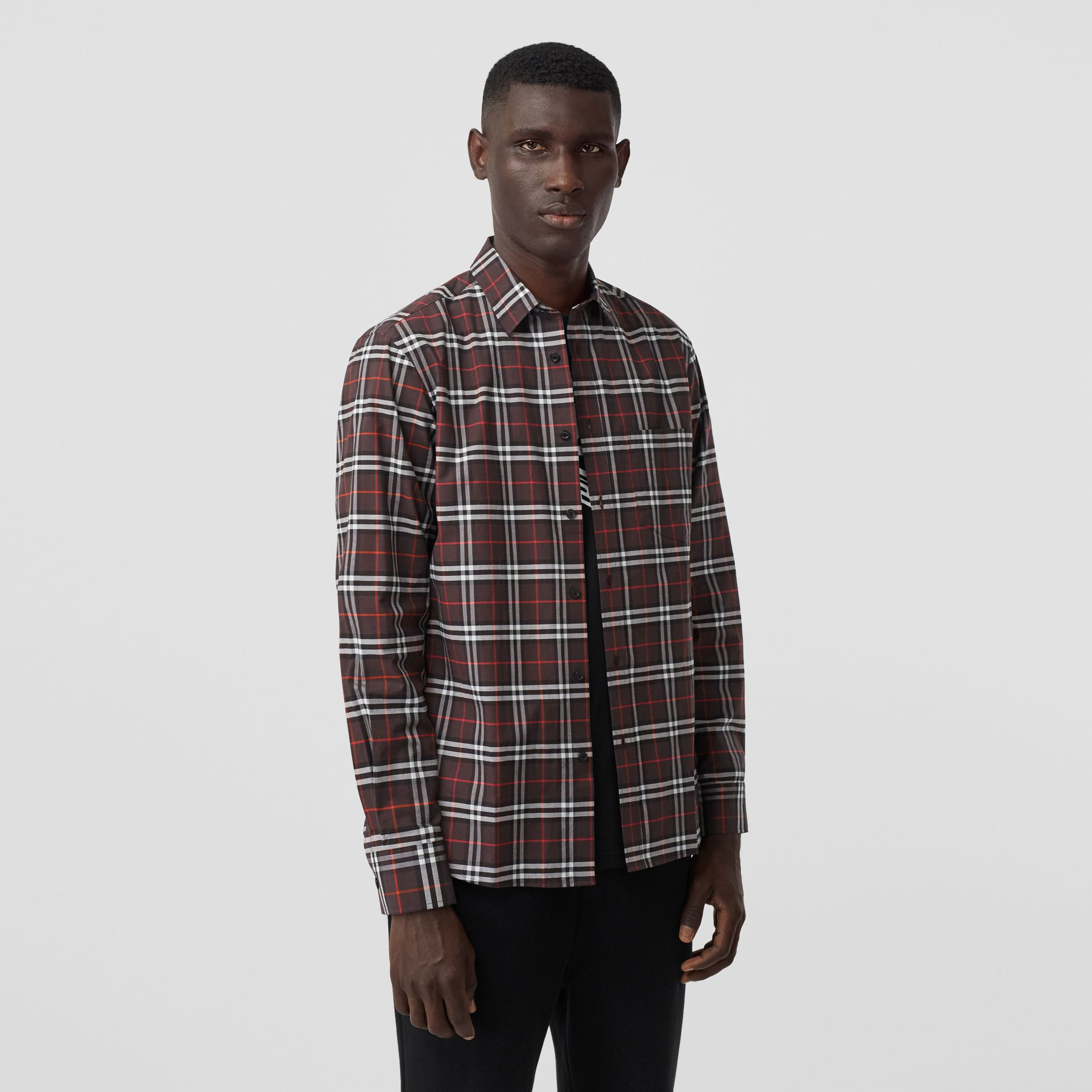 Small Scale Check Stretch Cotton Shirt in Bark - Men | Burberry - gallery image 4
