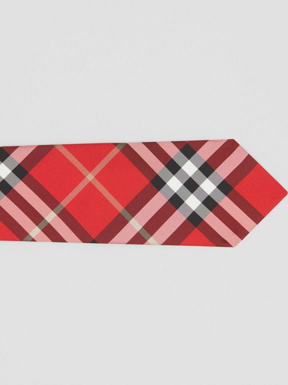 Classic Cut Vintage Check Silk Tie in Red - Men | Burberry - cell image 1