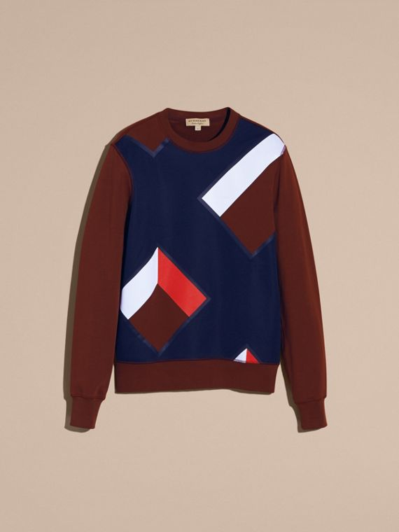 Geometric Appliqué Cotton Sweater - cell image 3