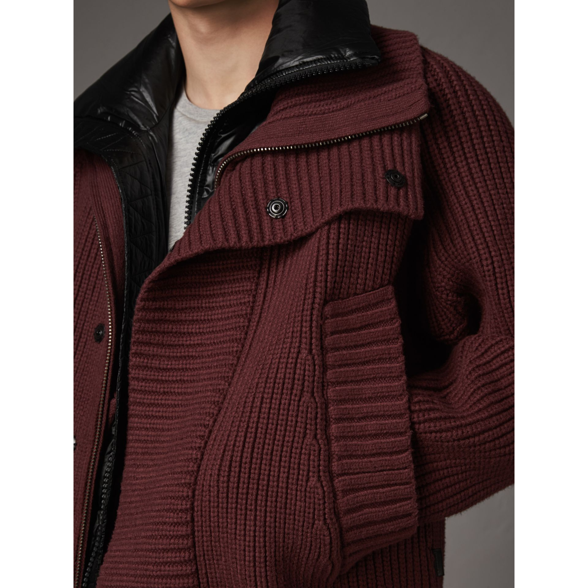 Rib Knit Cotton Blend Jacket with Down-filled Gilet in Mahogany Red - Men | Burberry Canada - gallery image 1