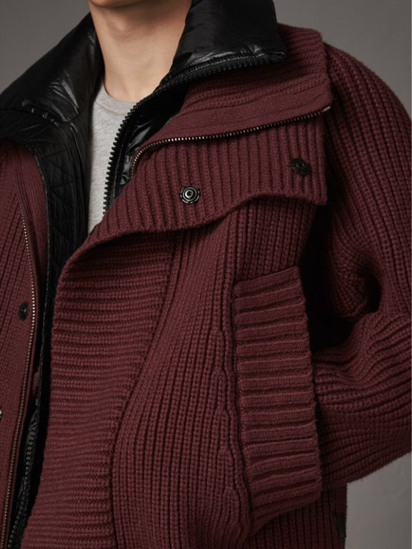 Rib Knit Cotton Blend Jacket with Down-filled Gilet in Mahogany Red - Men | Burberry - cell image 1