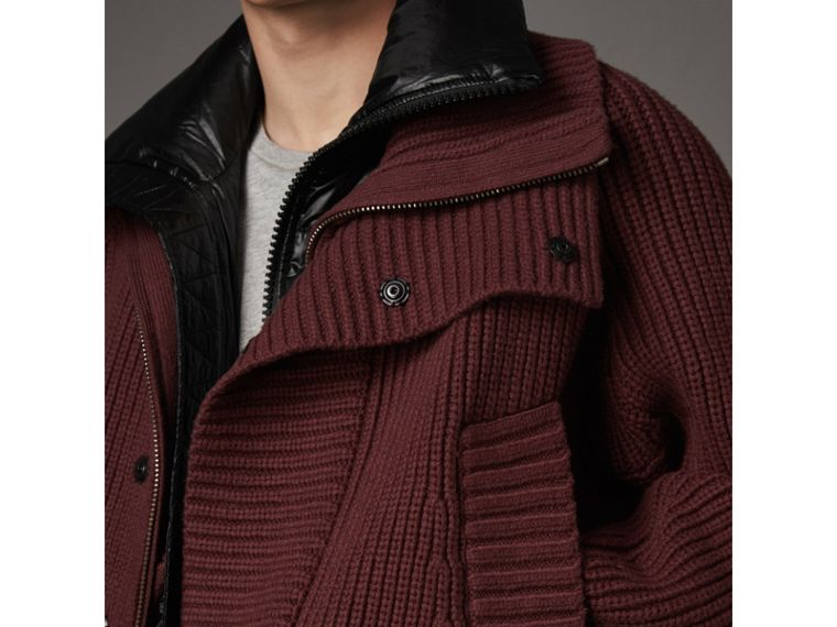 Rib Knit Cotton Blend Jacket with Down-filled Gilet in Mahogany Red - Men | Burberry Canada - cell image 1