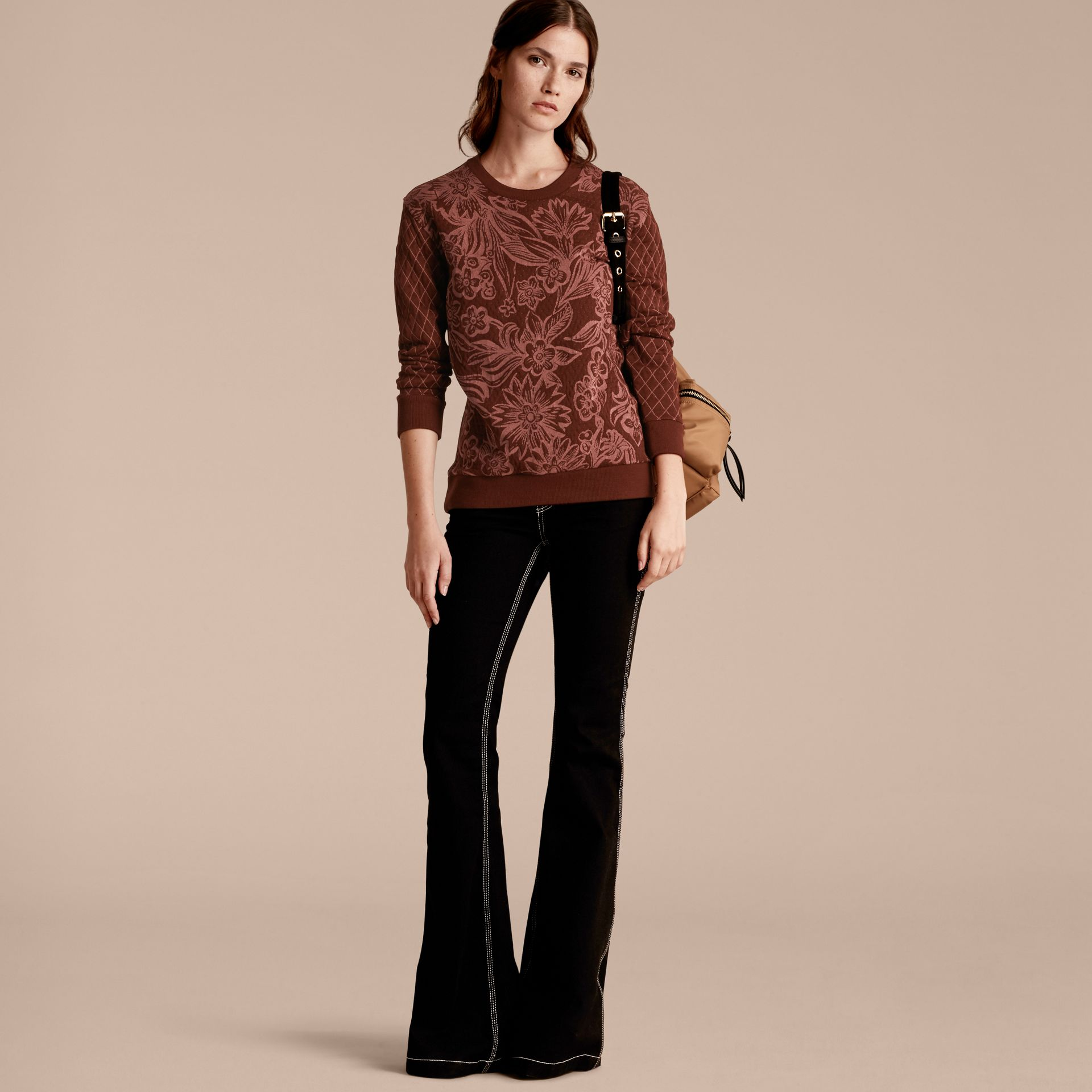 Garnet Floral Jacquard Cotton Wool Blend Sweater - gallery image 6