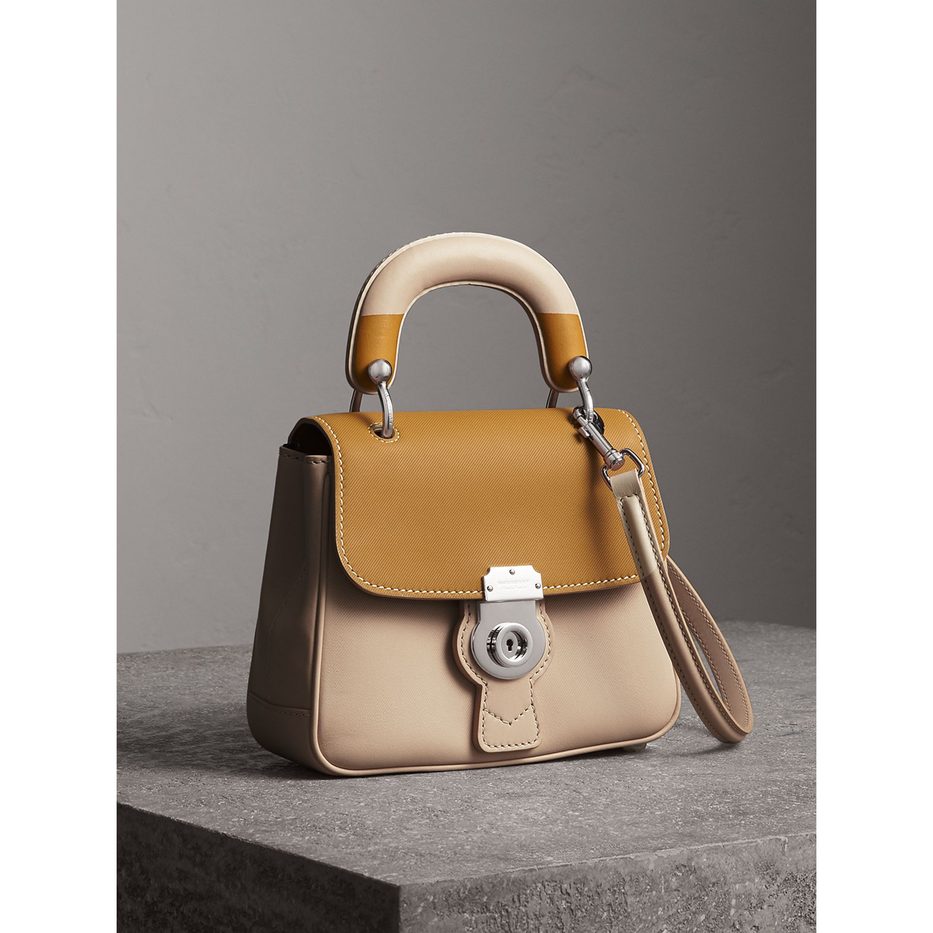 The Small DK88 Top Handle Bag with Geometric Print in Limestone/ochre Yellow - Women | Burberry Singapore - gallery image 7