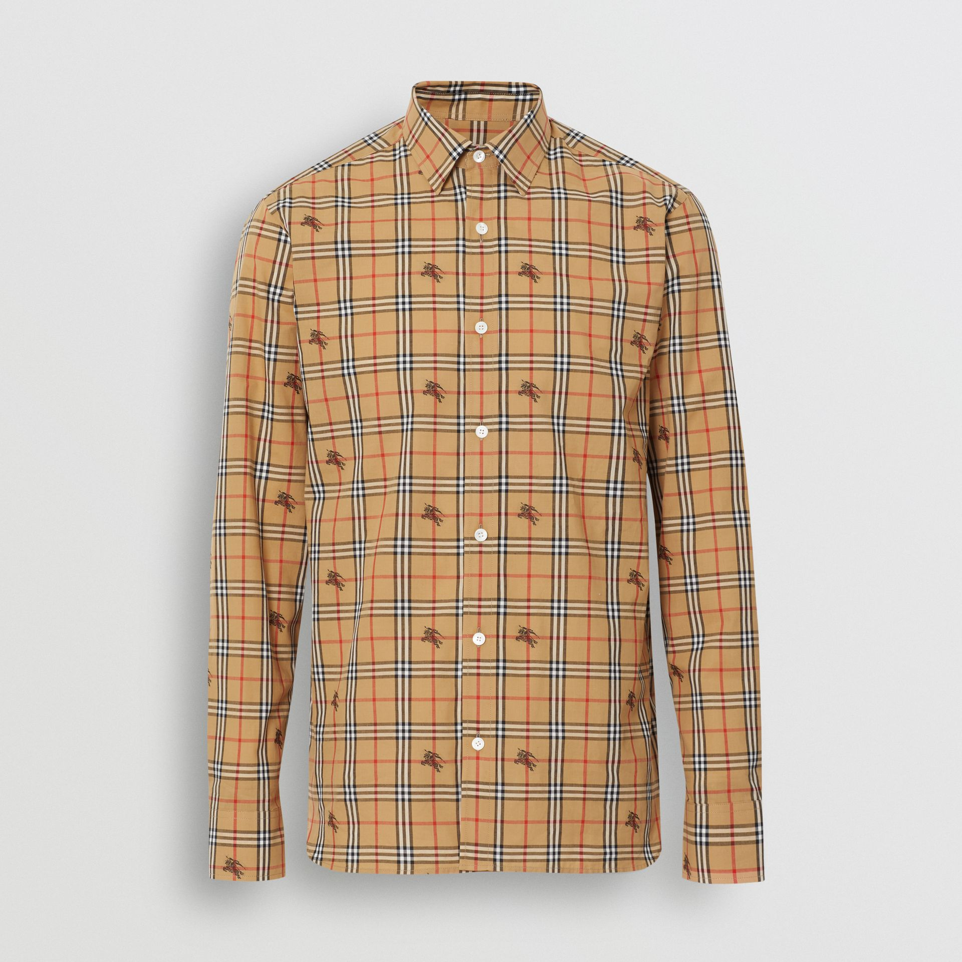Equestrian Knight Check Cotton Shirt in Camel - Men | Burberry - gallery image 3