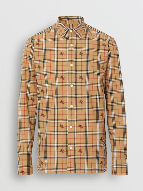 Equestrian Knight Check Cotton Shirt in Camel - Men | Burberry United Kingdom - cell image 3