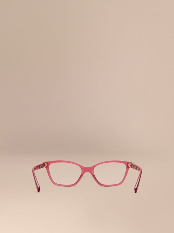 Red Check Detail Cat-eye Optical Frames Red - cell image 2