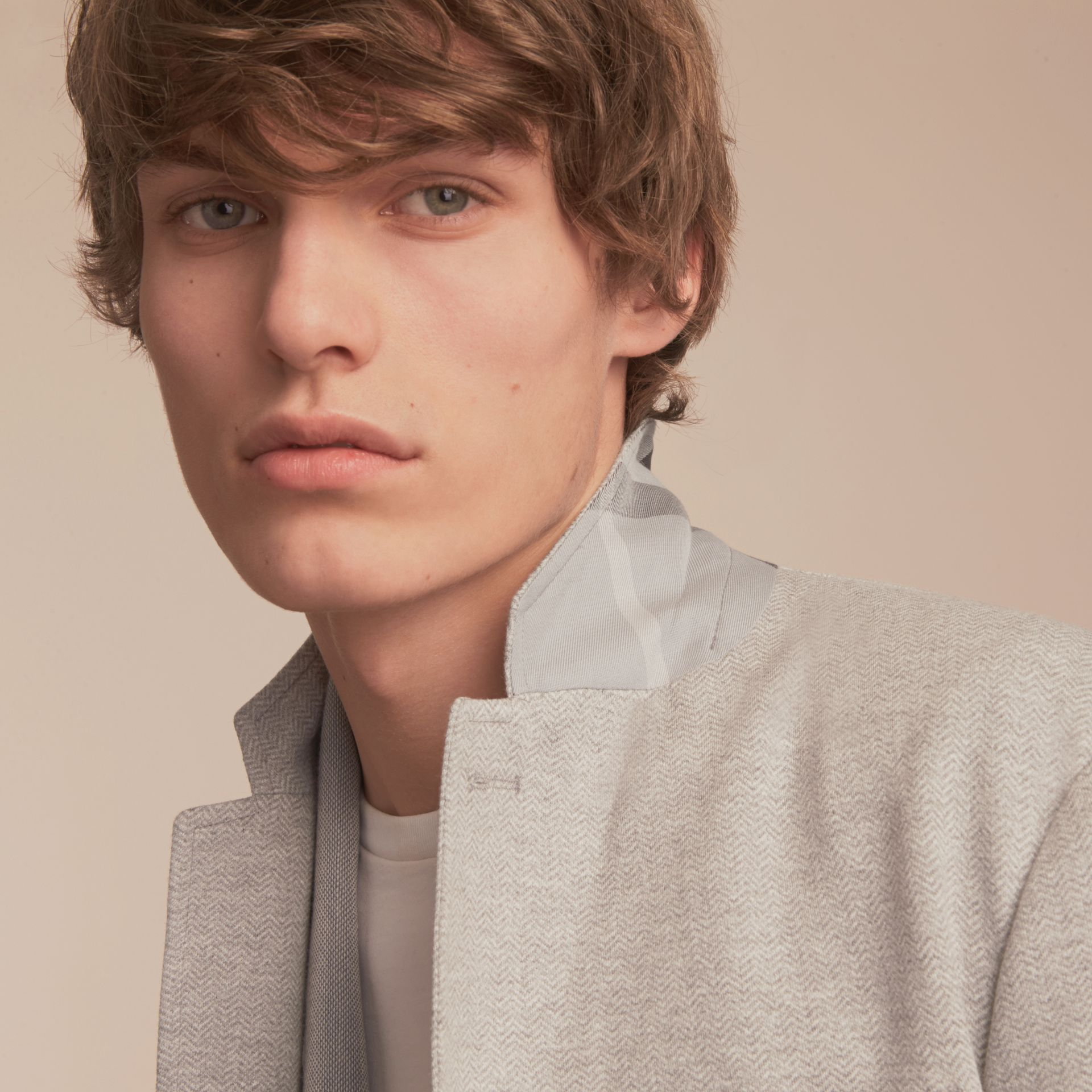 Herringbone Cotton Blend Jersey Blazer - gallery image 5