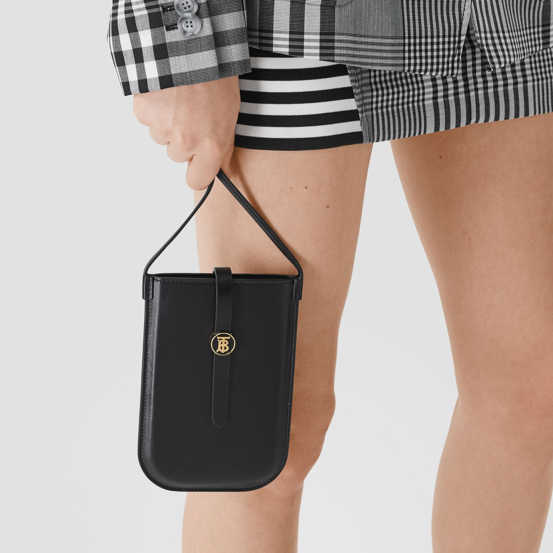 Leather Phone Case with Strap in Black | Burberry United Kingdom - gallery image 10