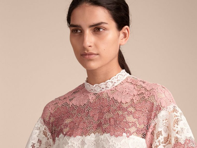 Floral Lace Dress with Flutter Sleeves in Dusty Pink - Women | Burberry - cell image 4