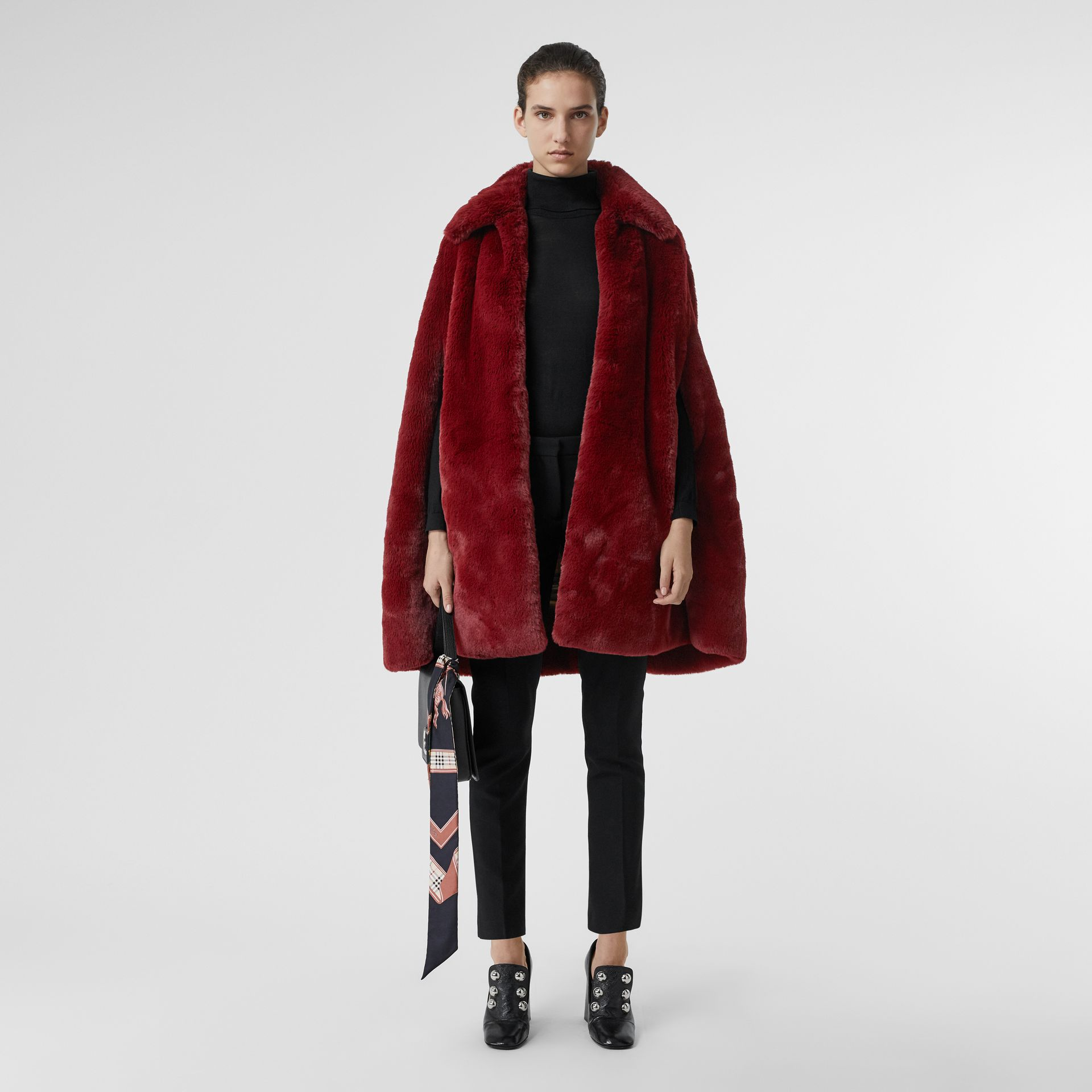 Faux Fur Cape in Burgundy - Women | Burberry - gallery image 0