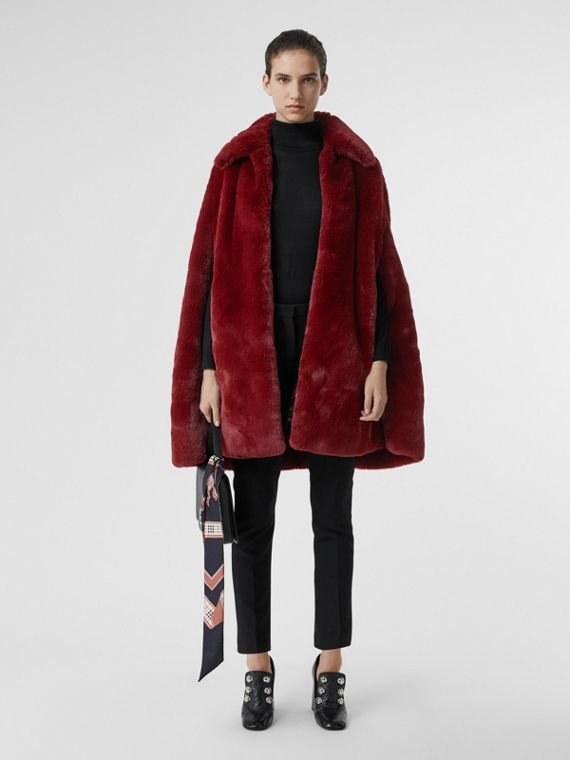 Faux Fur Cape in Burgundy