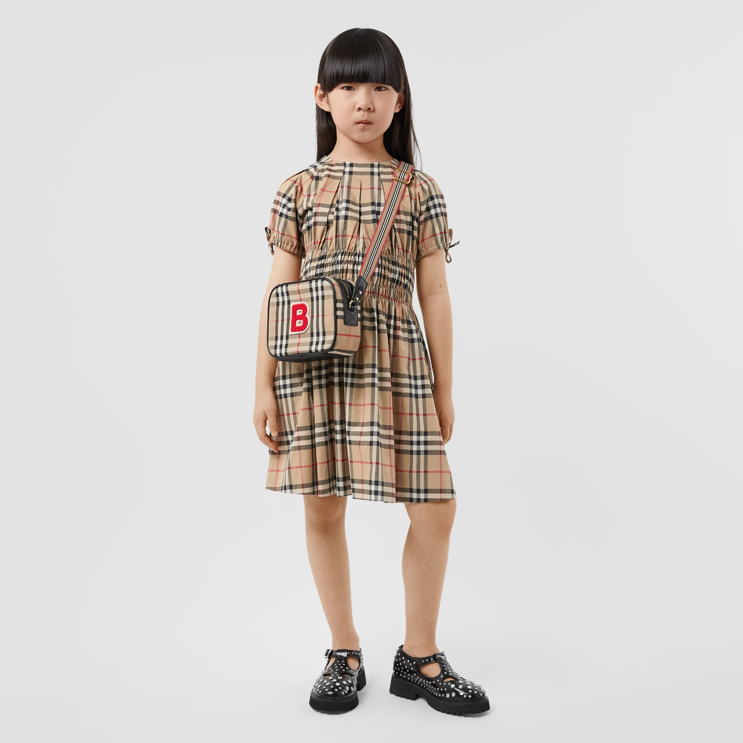 Ruched Panel Vintage Check Cotton Dress in Archive Beige | Burberry - 3